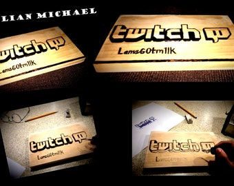 Twitch TV -fortnite -  boyfriend gift - brother gift - son gift -  Sign - Art - Wood burned