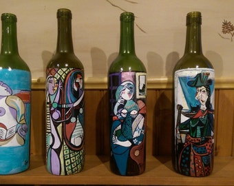 glass anniversary, picasso,glass anniversary,painted wine bottles,wine decor,van gogh,starry night,wine art,wife gift,hostess,