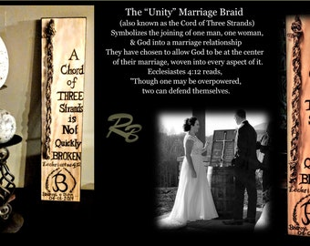 NOT made with Cheap stickers, or Stencils, Unique One of a kind, Wedding Unity three strand braid, Unity Ceremony, Gods Knot, Weddings