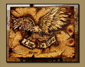 biker wedding gift - biker gift - biker eagle art, mens gifts, cabin decor,Skull art, art, sun moon, wood burned art,wall art
