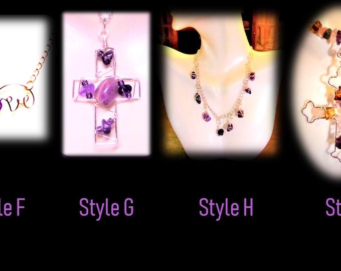 February Birthstone jewelry - Amethyst jewelry - Birthstone jewelry - Cross jewelry, sobriety jewelry, horizontal Cross