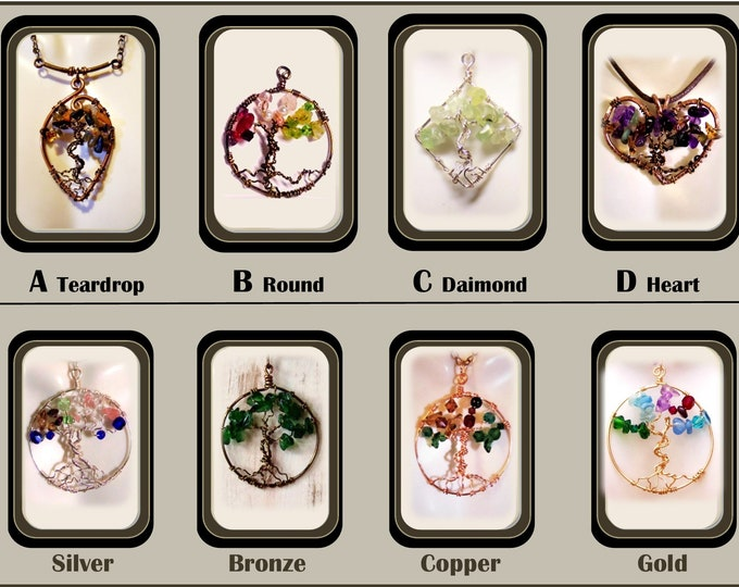 healing gemstone jewelry - spring y,mother gift,wife gift,grandmother gift,mother daughter,Family Birthstone jewelry,tree of life jewelry,