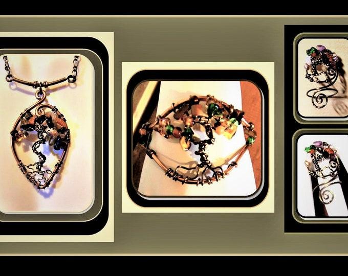 jewelry sets - dream catcher jewelry -  tree of life jewelry - wife gift - mother gift,healing jewelry - nature jewelry,zen jewelry
