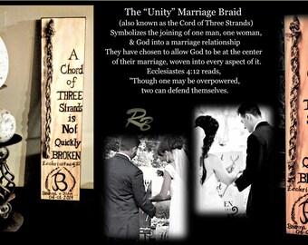Unity Ceremony, A chord of Three stands, Gods Knot, wedding, wood burned, Ecclesiastes 4:12, Wedding Braid