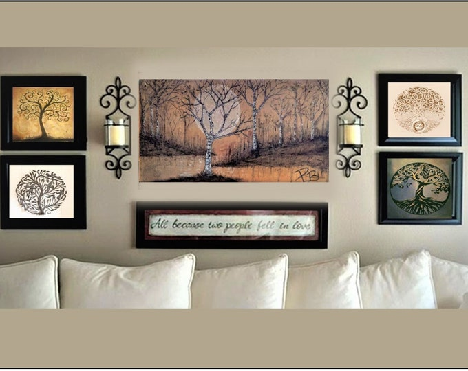 4' -  birch tree art, Large Art -  Original - art -  painting - birch trees, painting,Cabin Decor,Lodge Decor,,woodland, rustic,