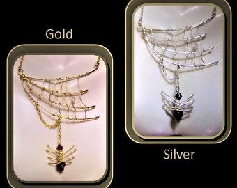 spider web jewelry, - Halloween jewelry - spider jewelry - spider web necklace -  Gothic jewelry - biker jewelry -  spider necklace - web