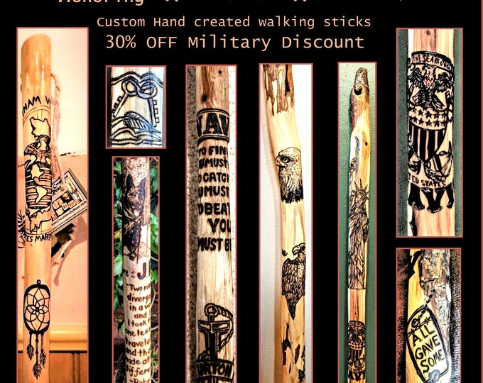 Disabled Veteran, Wounded Warriors, walking stick, Rehabilitation, walking help, cane, hiking stick, Retirement gift, Recognition,Tribute
