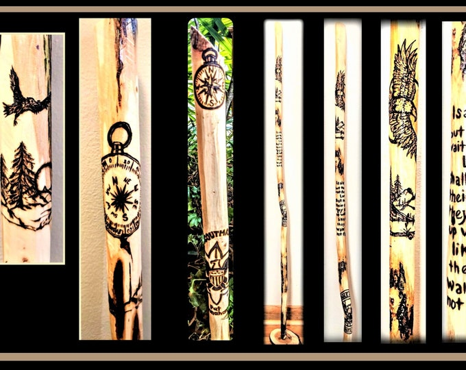 wood hiking stick - scoutmaster gift - scout leader gift -troop leader gift - Retirement gift  - hiking stick-wood anniversary
