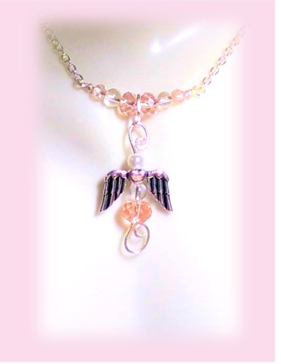 Celebrate Survival,Guardian, Angel, ribbon, Necklace, Survivor necklace,  breast cancer awareness - jewelry -  survivor gift - necklace