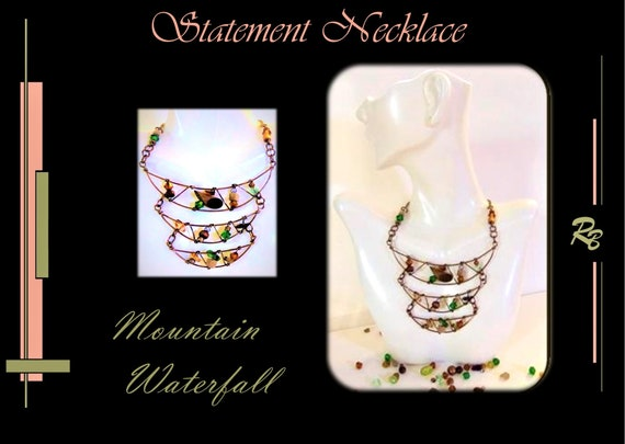 Mountain, Waterfall, High Fashion, Art, jewelry, Mother gift, Daughter gift, Wife gift, STATEMENT, necklace, Jewelry, fashion jewelry,