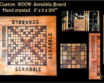 Wood Scrabble board, custom scrabble board, personalized, hand created, hand made, wood burned