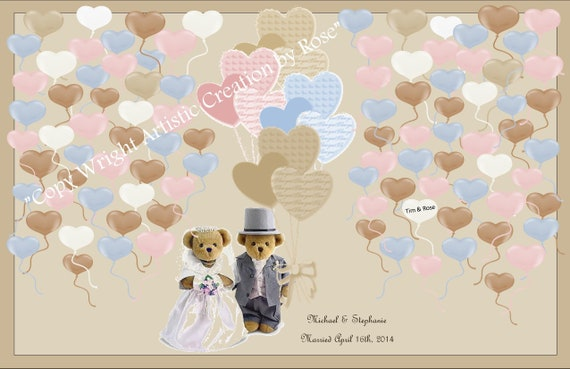 Teddy bear, Theme, Wedding, guest book, alternative, keepsake, frame hang, memories, wedding art,wedding Art, save the date, wedding sign in
