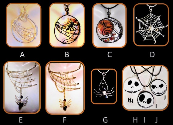 Tim Burten, Halloween, spider jewelry, spider web. jewelry, biker , orb weaver, spider web necklace, gothic jewelry,  spider necklace, webs