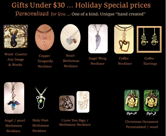 Gifts Under, 30,dollars, Men, Women, Holiday, Special, affordable,   gift,  ideas,unique, word jewelry, script jewelry,