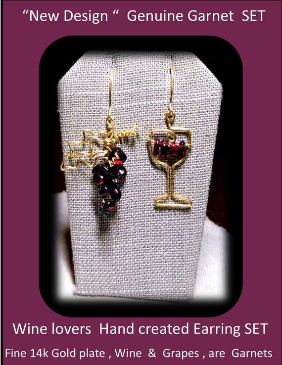 garnet earrings, wine gift,  wine, grapes, ring, - birthstone ring - wife gift - mother gift - daughter gift