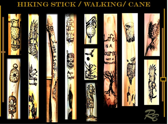 trials, hiking stick,walking, stick, cane, retirement gift, hikers gift, Any Images, Personalized, wood. hiking