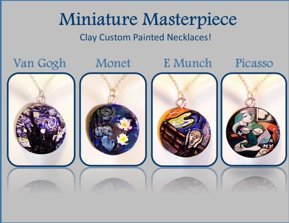 OOAK, hand painted, artist gift - cool jewelry - picasso,van gogh,starry night,,painted wine bottles,wine decor,wife gift,hostess,