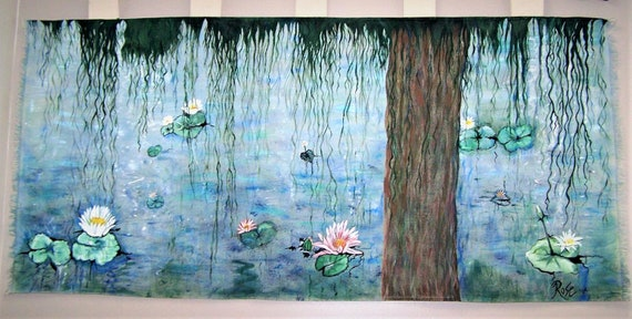 Canvas, Mural,  Monet, water lilies, Oil Painting Collage, Fine Art, Artist,Aston PA, local Artist, Arts District, Rose Barnes, Masterpiece,