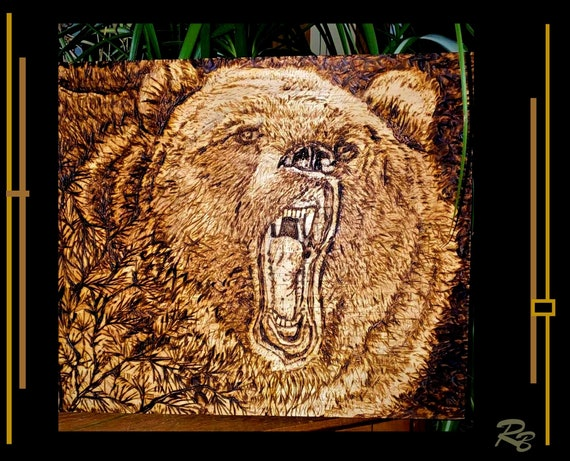 hunter gift, Bear, Grizzly, Wolf art, wolves, Rustic, decor, lodge, Trees,Cabin Decor,Logde Decor,Rustic decor,