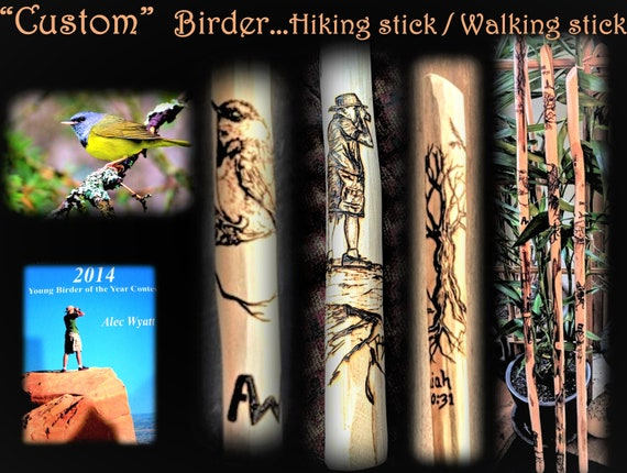 birding, hiking stick, retirement gift, five year anniversary gift, walking stick, wife gift, gift, mother, husband ,gift