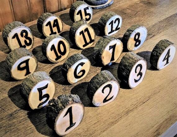 wedding table numbers - rustic wedding - tree slice table numbers