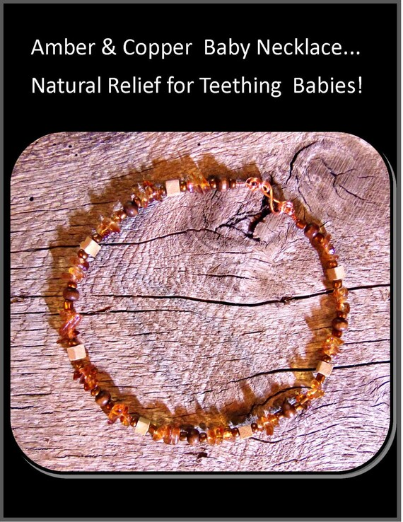 amber teething necklce, teething necklace, cooper, baby teething remedy, healing jewelry, baby teething necklace, amber teething necklace