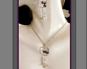 mothers day gift, wine jewelry,wine lovers gift,wife gift, girlfriend gift,garnet, birthstone jewelry,wine lover,hostess gift,bartender