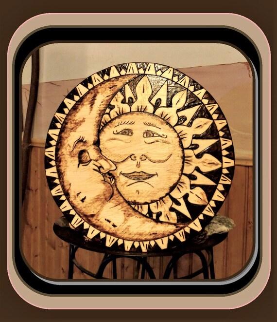 sun and moon art, celestial art, sun and moon,tree  art,wolf art, wood burned art,  pyrography,wall art, home decor,art