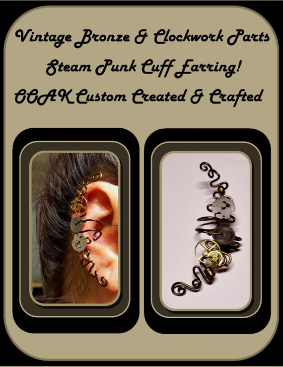 Cosplay,No piercing required,ear cuff,steampunk jewelry,earcuff,vine earrings,pearl earrings,mother daughter jewelry