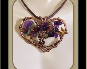 wife gift - sister gift - February birthday - Amethyst jewelry - Heart jewelry - girlfriend gift,Mother gift, daughter gift