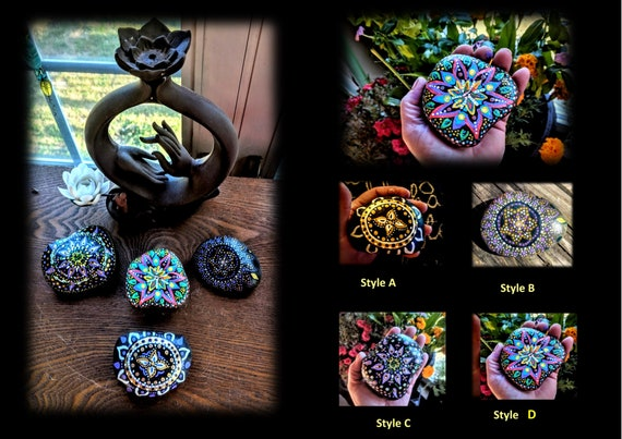 mandala,rock, gift, love, life, zen, gift, Buddha, healing , meditation, hand painted, healing