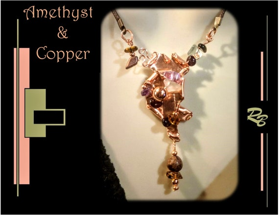 Amethyst, copper, Wife gift, High Fashion Jewelry, Mother gift, Daughter gift, High Fashion,necklace, Jewelry, fashion jewelry