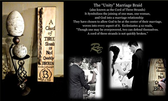 A chord of Three stands is Not quickly broken, Ecclesiastes 4:12, unity, wedding, Unity Ceremony, Gods Knot, tree strands braid