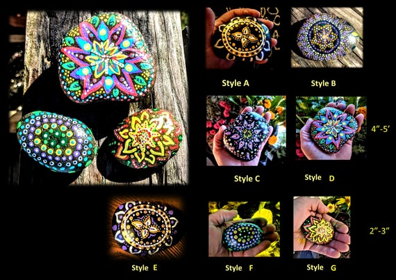 mandala, meditation, rocks, Zen gifts, Large, and, pocket size