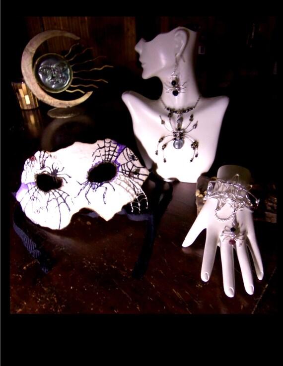 Masquerade,masks,Steam punk mask,halloween jewelry,web jewelry,spider jewelry,gothic jewelry,spider web earrings,spider web necklace,spiders