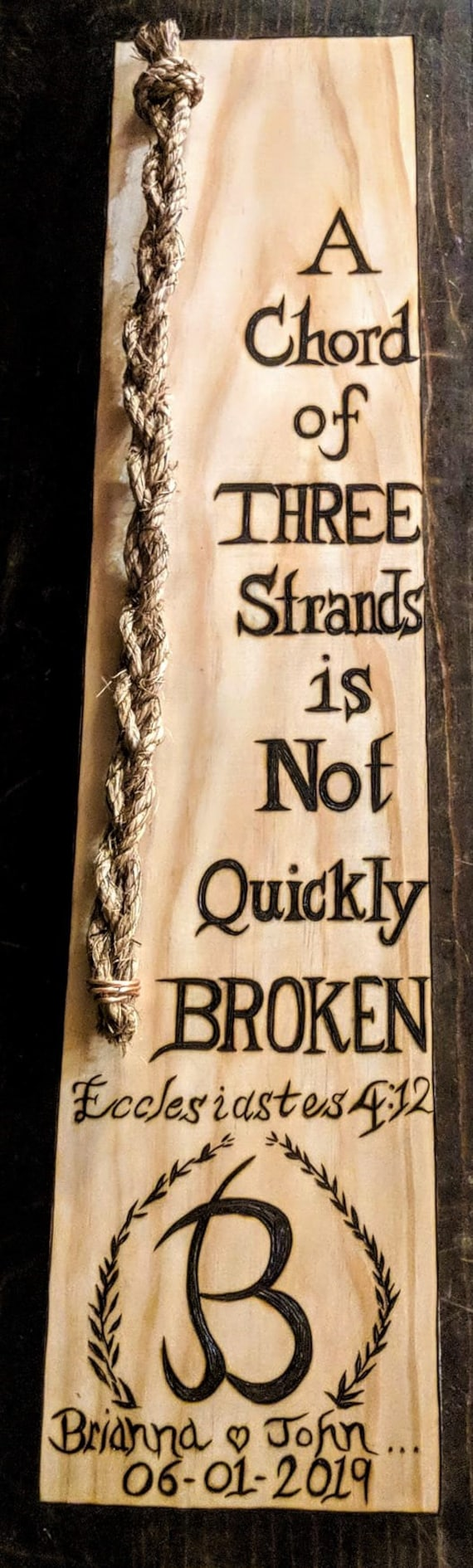 anniversary gift, Unity, Three strand braid, Ecclesiastes 4:12, Wife gift, Husband gift, Wood burned, Gods Knot, A chord of Three stands