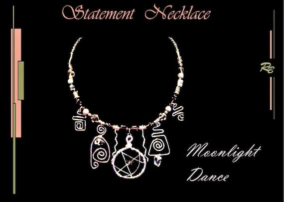 High Fashion Jewelry, Moonlight, Dance, ZEN, Elements, jewelry, Wicca, Zen,  STATEMENT,  Art jewelry, necklace, geometric,