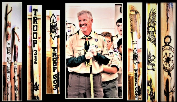 scout leader gift,retirement gift, merit badge ceremony, scout gift,scout stick,boyscout gift,hiking stick,waling stick