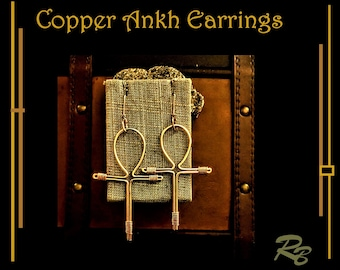 Ankh Earrings, large, copper, ankh jewelry