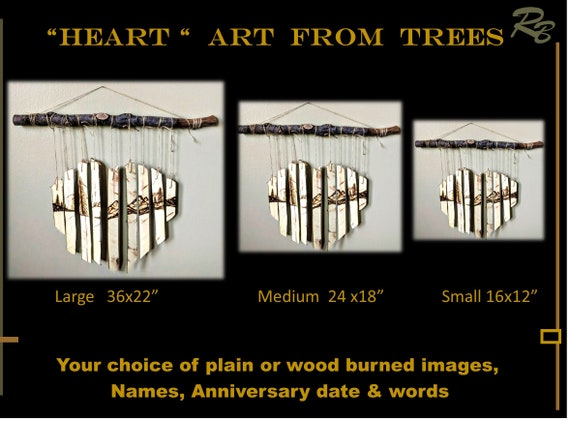 Heart, Art, wife gift, five year, wood anniversary gift - Anniversary gift, Husband gift, rustic, decor, trees