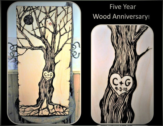 Large Art - Couples Tree with heart initials and date - Anniversary gift ideas - Wood Anniversary - Wife gift - Husband gift - Wedding gift