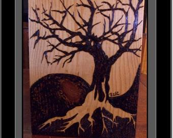 Yin Yang tree,yin yang art,tree of life art,wolf art,Tree Art,wood burned art, pyrography,Nature,howling wolf,wall art,home decor,rustic art