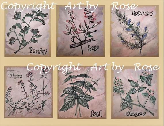 kitchen art - Spice painting - Spice Art, Chef gift, Parsley Sage Rosemary Thyme, Basil art,Oregano art, kitchen decor, kitchen accessories