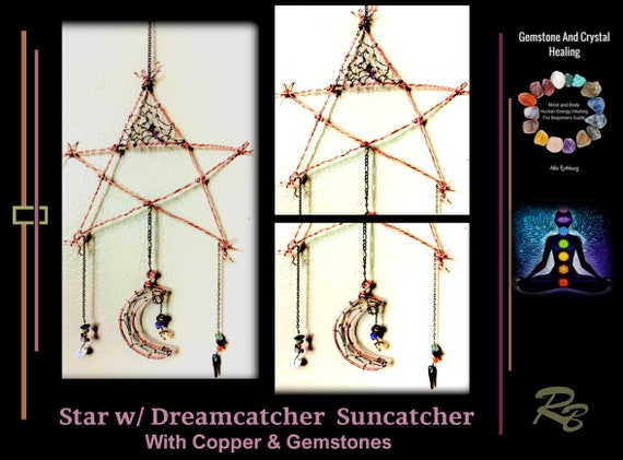 Suncatcher,  Star, Moon,  dream catcher - mystical, gemstone,  mother gift, window, art, garden, decoration,  sun catchers -Moon,  Gemstone,