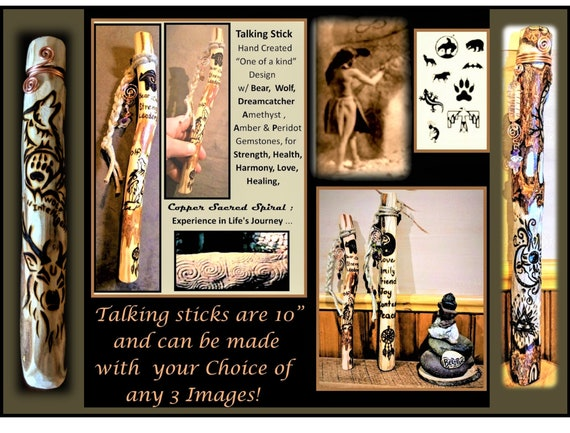 Talking stick - tribal talking stick - communication - group talk - artistic creations by rose