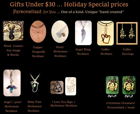 Under 30 dollars, affordable,   gift, Men, Women, ideas,unique, word jewelry, script jewelry,coffee, necklace, jewelry
