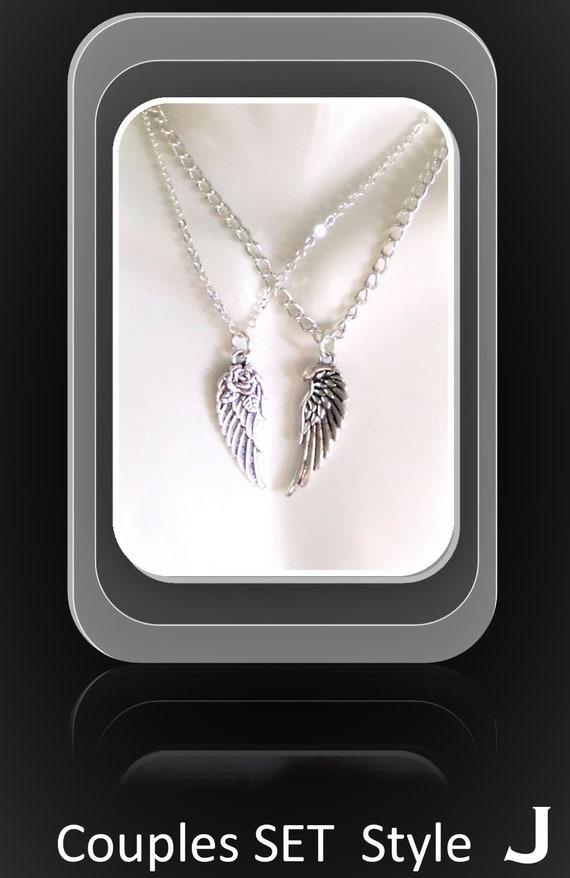 girlfriend gift -  couples jewelry, couples gift,angel wing necklace,wings - mens gifts,couples jewelrywife gift,daughter,sister gift