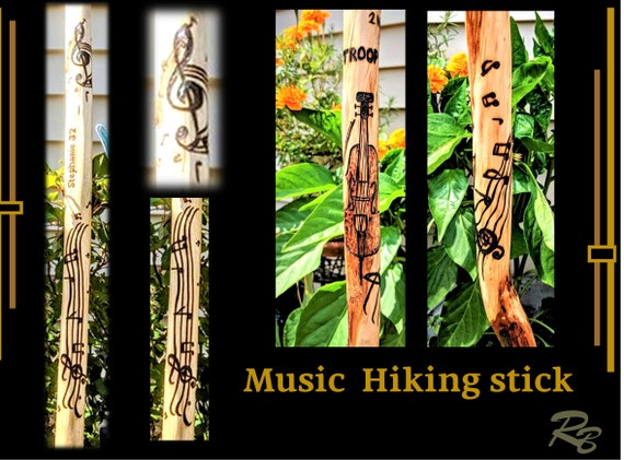 Musician gift, music teacher gift, Retiment gift, Music notes, hiking stick, walking stick,,hiker, hiking,hikers gift,walking stick