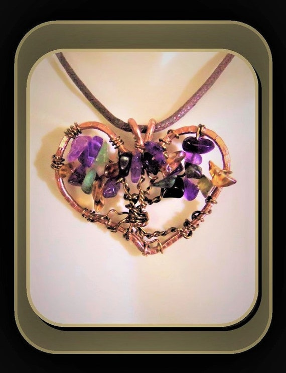 heart necklace, Amethyst, mother gift, wife gift, birthstone tree, tree of life, necklace,daughter, tree of life, family birthstone necklace