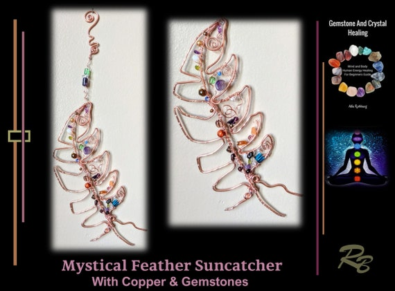 Suncatcher,  mystical feather, mother gift, window, art, garden, decoration, DreamCatcher, dream catcher - sun catchers -Moon,  Gemstone,